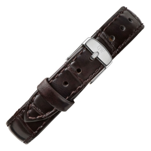 Daniel Wellington 12mm Petite York Dark Brown Leather Watch Strap Stainless Steel Buckle