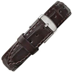 Daniel Wellington 18mm Classic Lady York Dark Brown Crocograin Leather Watch Strap Stainless Steel Buckle