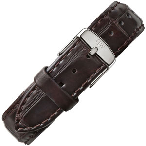 Daniel Wellington 20mm Classic York Watch Strap Crocograin Leather Dark Brown Steel Buckle