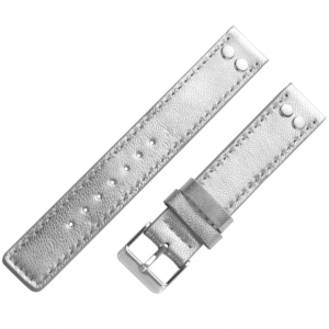 OOZOO Watch Band Silver Leather with Studs