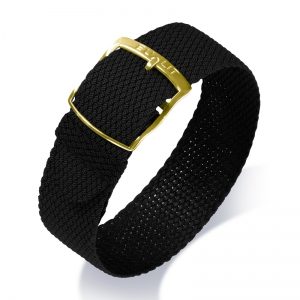 Eulit Perlon Watch Strap Kristall Black Golden Buckle