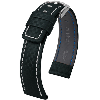 Hirsch Carbon Watch Band 100 m Water-Resistant Black with White Stitching