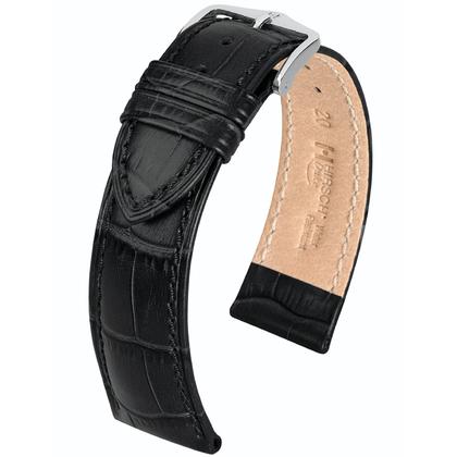 Hirsch Duke Watch Band Alligatorgrain Black