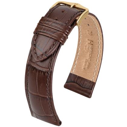 Hirsch Duke Watch Band Alligatorgrain Dark Brown