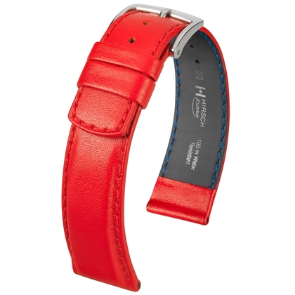 Hirsch Runner Waterproof Watch Band Calf Skin Red