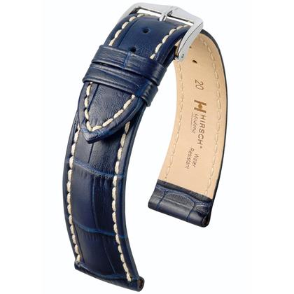 Hirsch Modena Watchband Calfskin Alligatorgrain Dark Blue