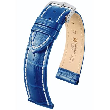 Hirsch Modena Calfskin Watchband Alligatorgrain Ocean Blue