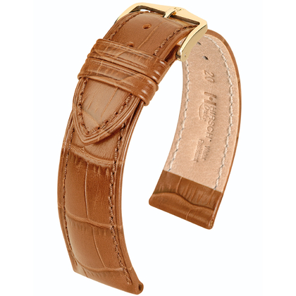 Hirsch Duke Watch Band Alligatorgrain Honey