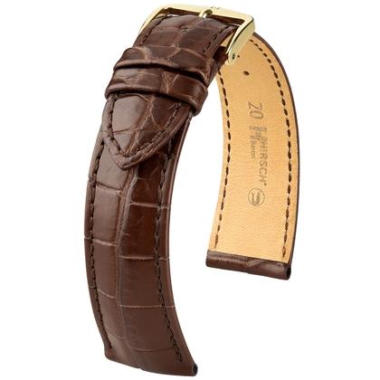 Hirsch Baron Nile Crocodile Skin Watch Strap Brown Matte