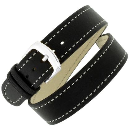 Hirsch Grace 'Double Tour' Double Watch Strap Calfskin Black