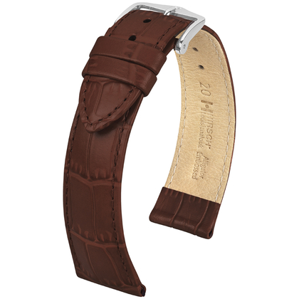 Hirsch Louisianalook Alligatorprint Watchband Brown