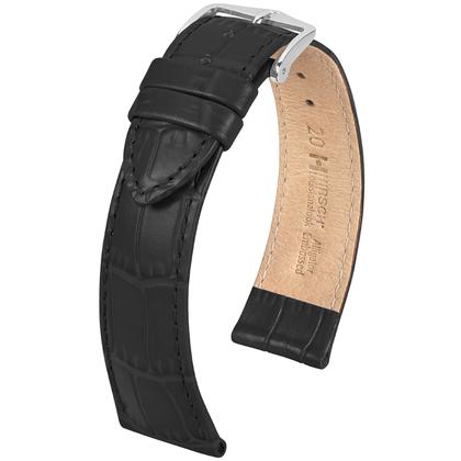 Hirsch Louisianalook Alligatorprint Watchband Black