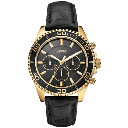 Guess Watch Band W0171G3 Black Leather Croco Embossed