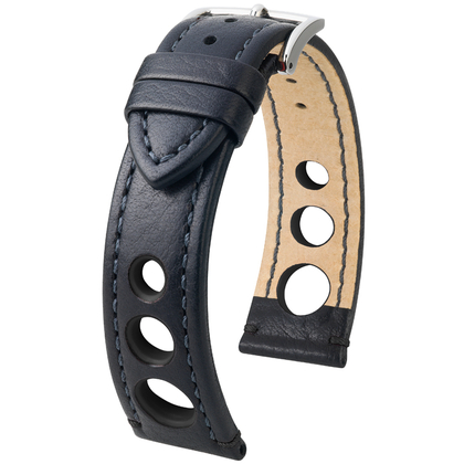 Hirsch Rally Artisan Perforated Watch Band Black