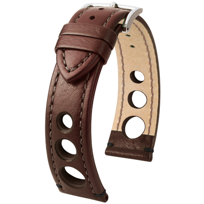 Hirsch Rally Artisan Perforated Watch Band Brown