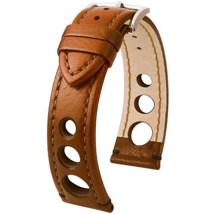Hirsch Rally Artisan Perforated Watch Band Golden Brown