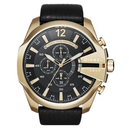 Diesel DZ4344 Watch Strap Black Leather