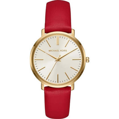 Michael Kors MK2596 Watch Strap Red Leather