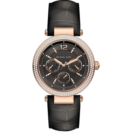 Michael Kors MK2547 Watch Strap Black Leather