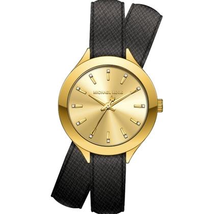 Michael Kors MK2502 Watch Strap Black Leather