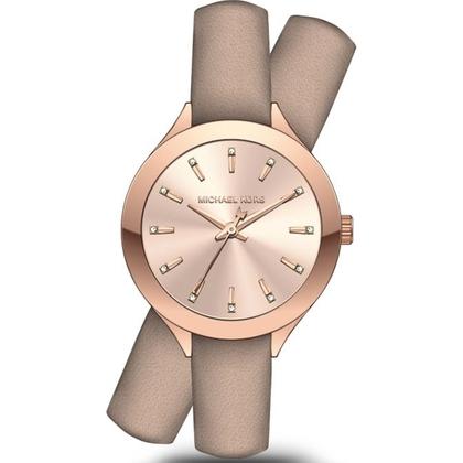 Michael Kors MK2554 Watch Strap Beige Leather