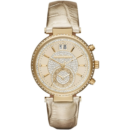 Michael Kors MK2444 Watch Strap Gold Coloured Leather