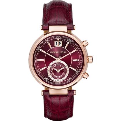 Michael Kors MK2426 Watch Strap Dark Red Leather