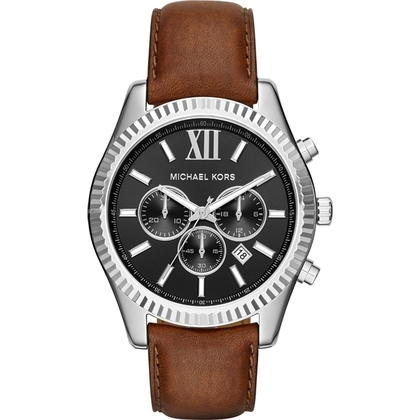Michael Kors MK8456 Watch Strap Brown Leather