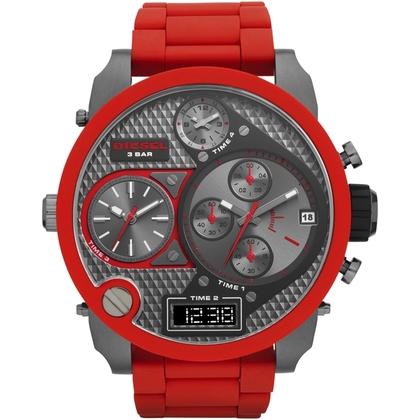 Diesel DZ7279 Watch Strap Stainless Steel Red Rubber