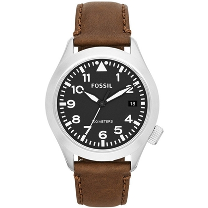 Fossil AM4512 Watch Strap Brown Leather