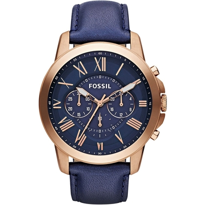 Fossil FS4835 Watch Strap Bleu Leather