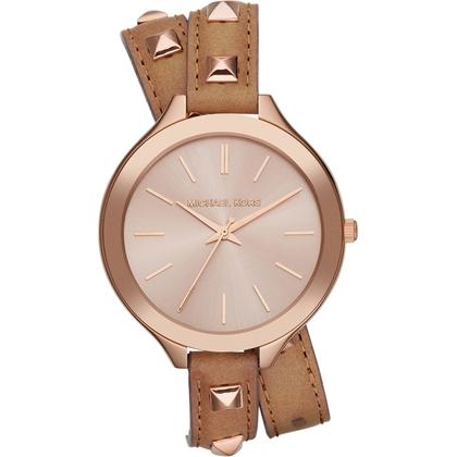 Michael Kors MK2299 Watch Strap Brown Leather