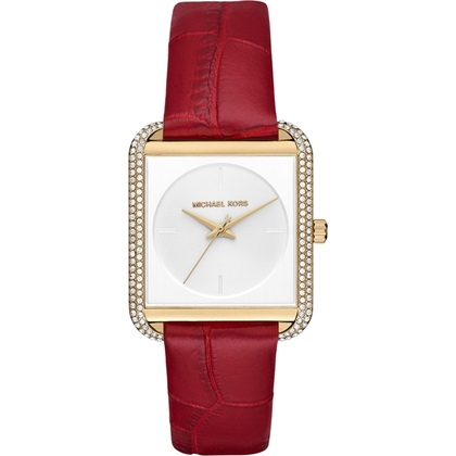 Michael Kors MK2623 Watch Strap Red Leather