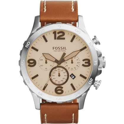 Fossil JR1503 Watch Strap Brown Leather