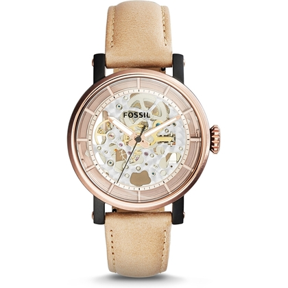 Fossil ME3079 Watch Strap Beige Leather