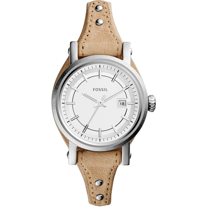 Fossil ES3908 Watch Strap Beige Leather