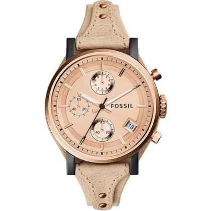 Fossil ES3786 Watch Strap Beige Leather