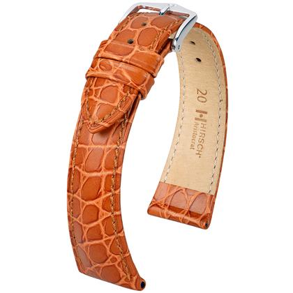 Hirsch Aristocrat Watch Band Crocograin Golden Brown