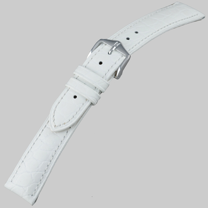 Hirsch Aristocrat Watch Band Crocograin White