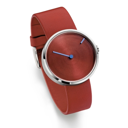 Jacob Jensen Watch Band Curve 255, rood leather