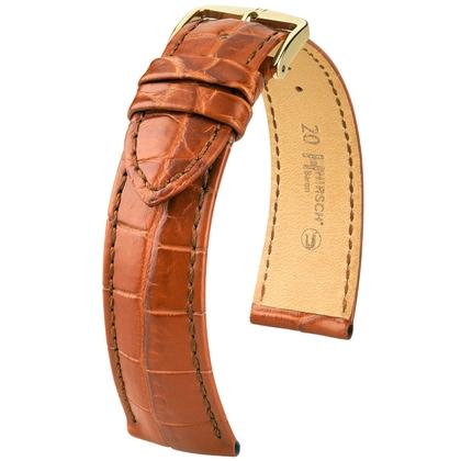 Hirsch Baron Nile Crocodile Skin Watch Strap Golden Brown Matte