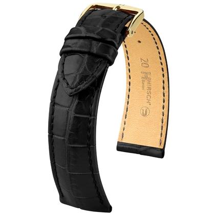 Hirsch Baron Nile Crocodile Skin Watch Strap Black Matte