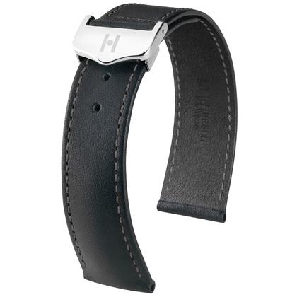 Hirsch Voyager Watch Strap for Omega Folding Clasp Italian Calf Skin Black