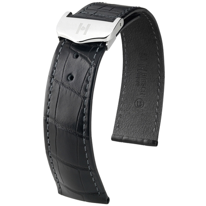 Hirsch Voyager Watch Strap for Omega Folding Clasp Louisiana Alligator Skin Black