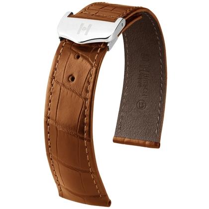 Hirsch Voyager Watch Strap for Omega Folding Clasp Louisiana Alligator Skin Golden Brown