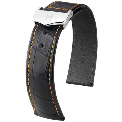 Hirsch Voyager Watch Strap for Omega Folding Clasp Louisiana Alligator Skin Black Orange Stitching