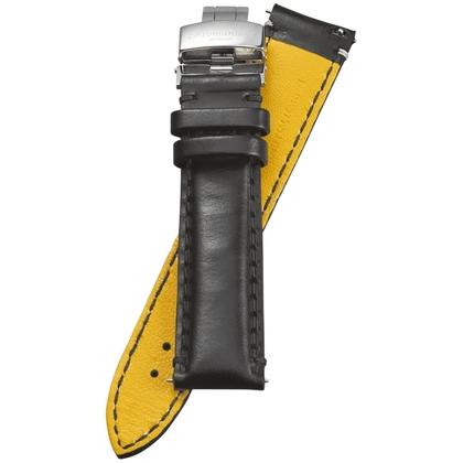 Fromanteel Pendulum Watch Strap Oiled Black Leather + Folding Clasp