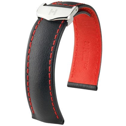 Hirsch Speed Watch Strap for TAG Heuer Folding Clasp Calf Skin Black with Red Stitching