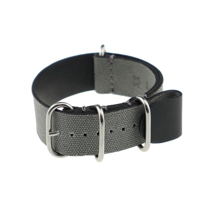 Rios NATO Strap Canvas on Leather Gray - SS/Matte/PVD