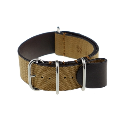 Rios NATO Strap Canvas on Leather Beige - SS/Matte/PVD